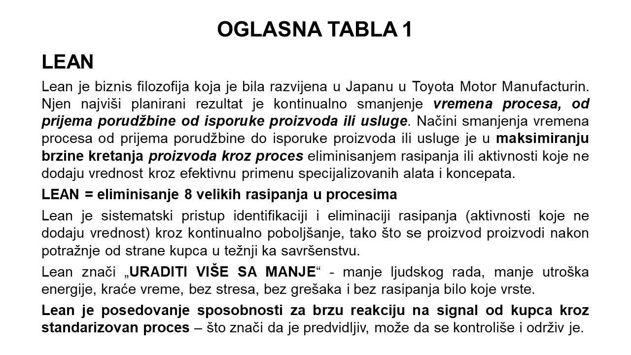 Oglasna tabla 1 - Lean